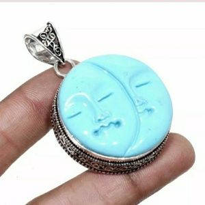 New Carved Double Moon Face Silver Pendant.